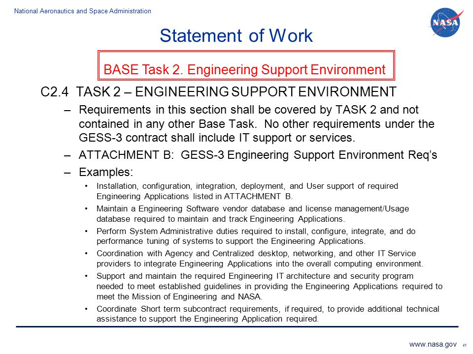 Statement of Work C2.4 TASK 2 – ENGINEERING SUPPORT ENVIRONMENT