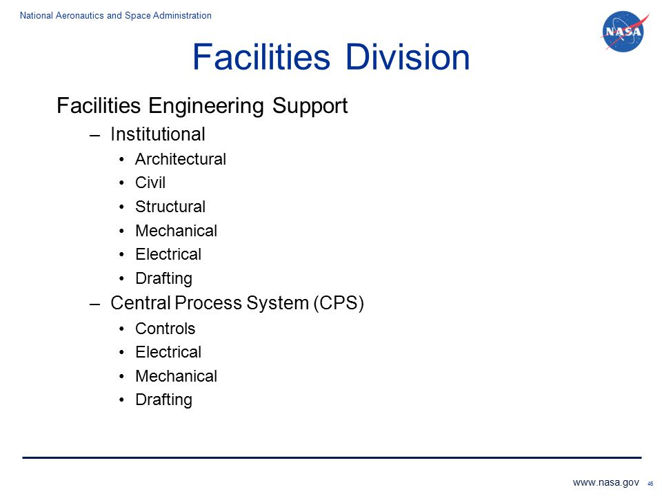 Facilities Division Facilities Engineering Support Institutional