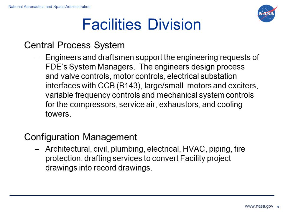 Facilities Division Central Process System Configuration Management