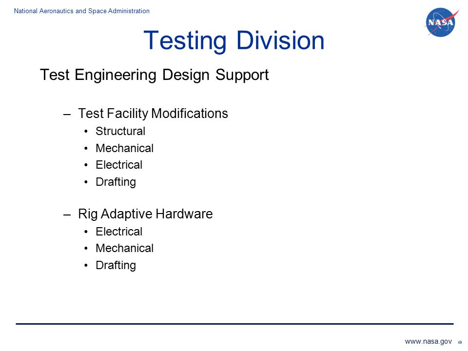 Testing Division Test Engineering Design Support