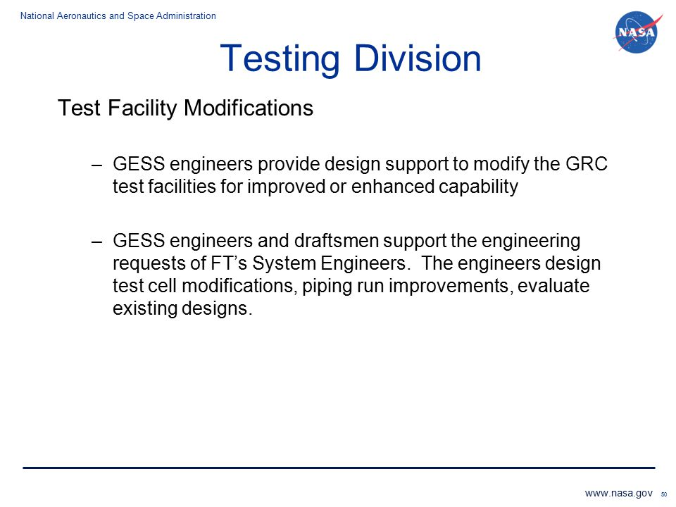Testing Division Test Facility Modifications