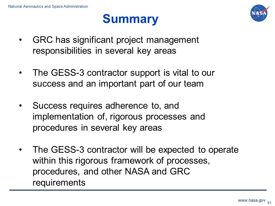 Summary GRC has significant project management responsibilities in several key areas.