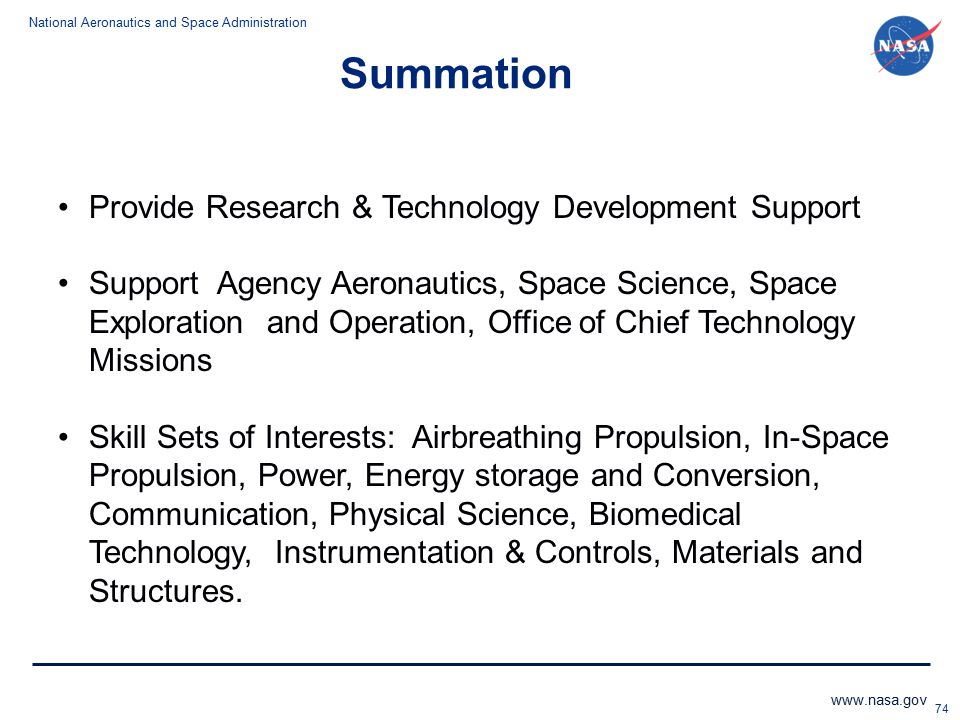 Summation Provide Research & Technology Development Support
