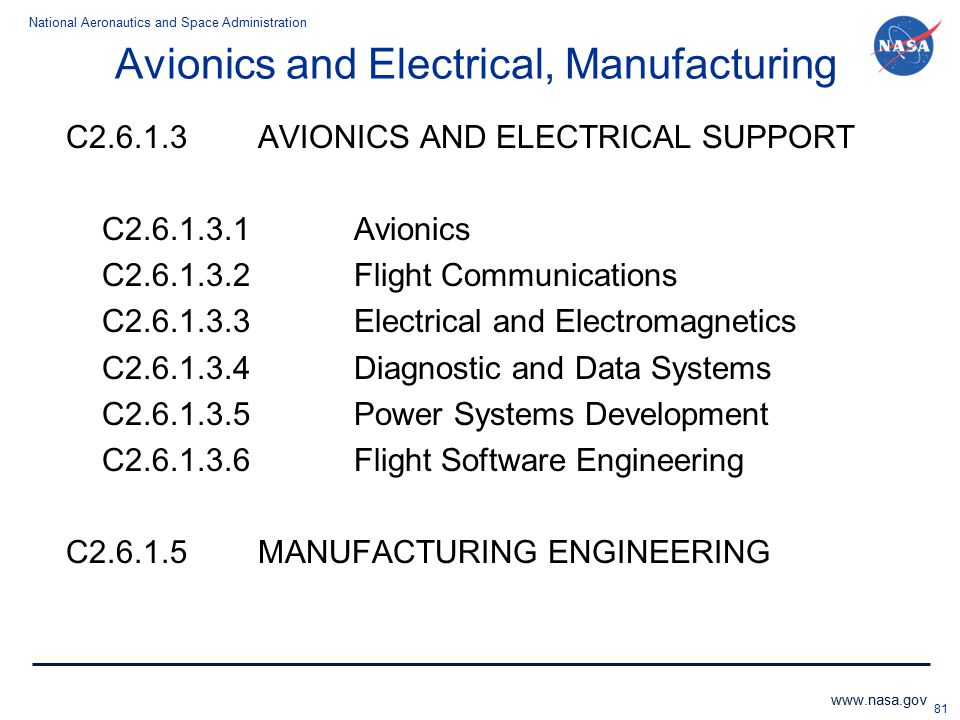 Avionics and Electrical, Manufacturing
