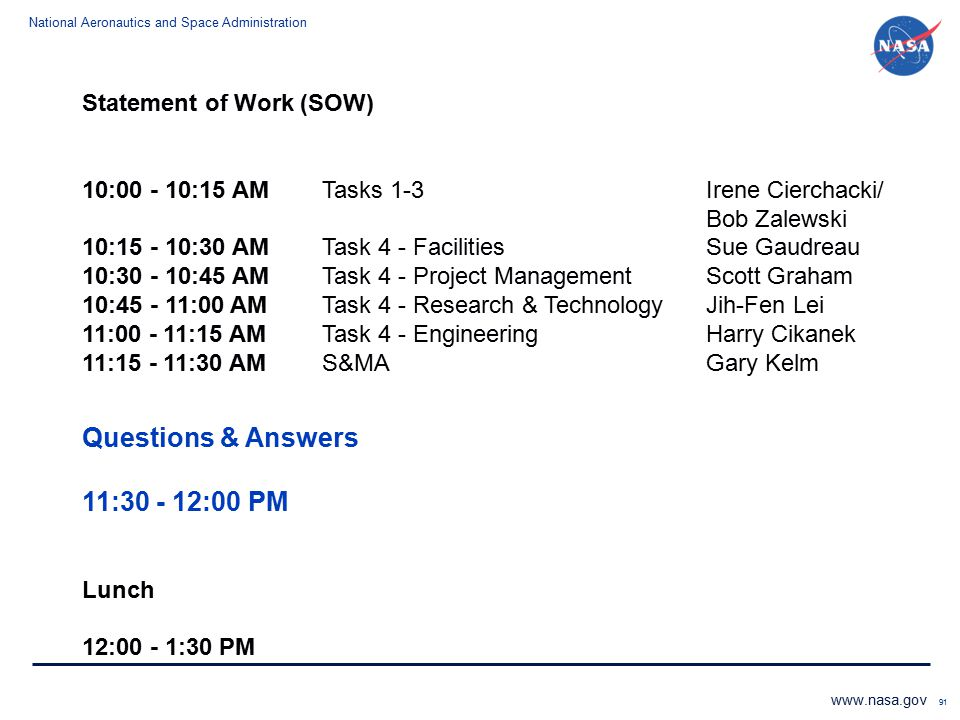 Questions & Answers 11:30 - 12:00 PM Statement of Work (SOW)