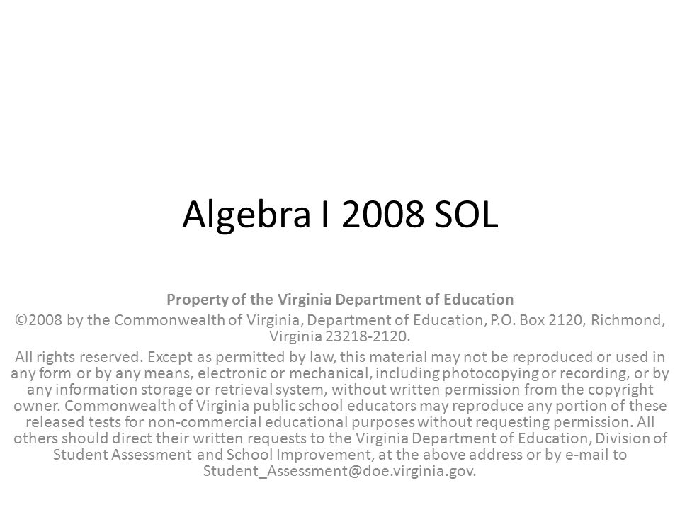 Property of the Virginia Department of Education