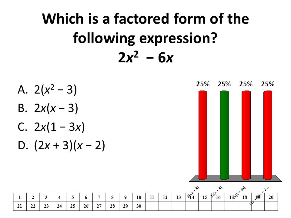 Which is a factored form of the following expression 2x2 − 6x