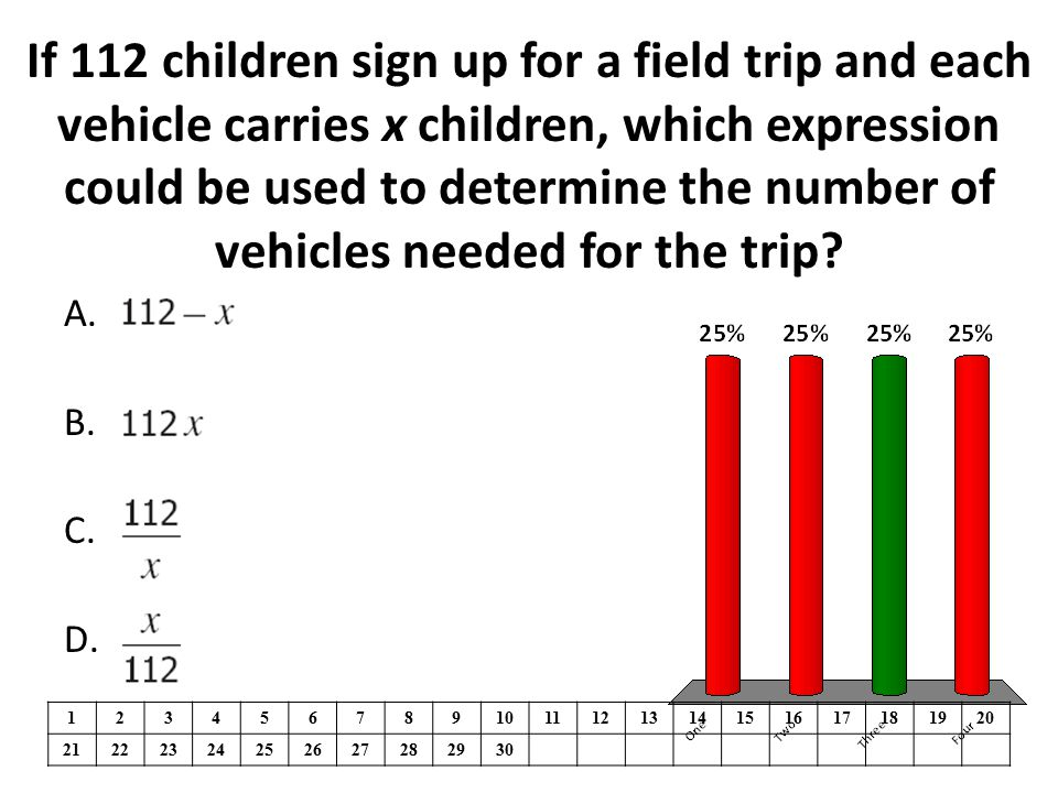 If 112 children sign up for a field trip and each vehicle carries x children, which expression could be used to determine the number of vehicles needed for the trip