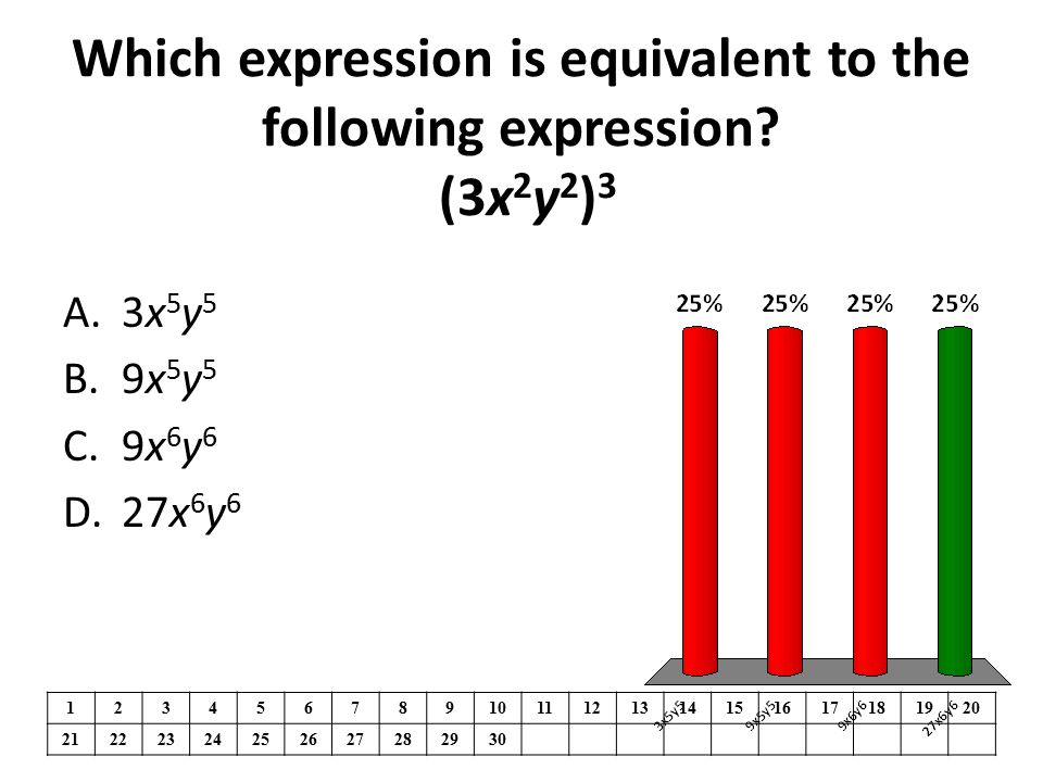 Which expression is equivalent to the following expression (3x2y2)3