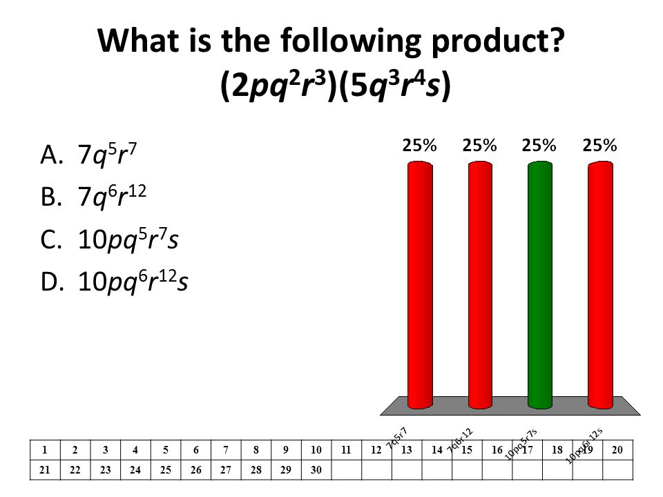 What is the following product (2pq2r3)(5q3r4s)