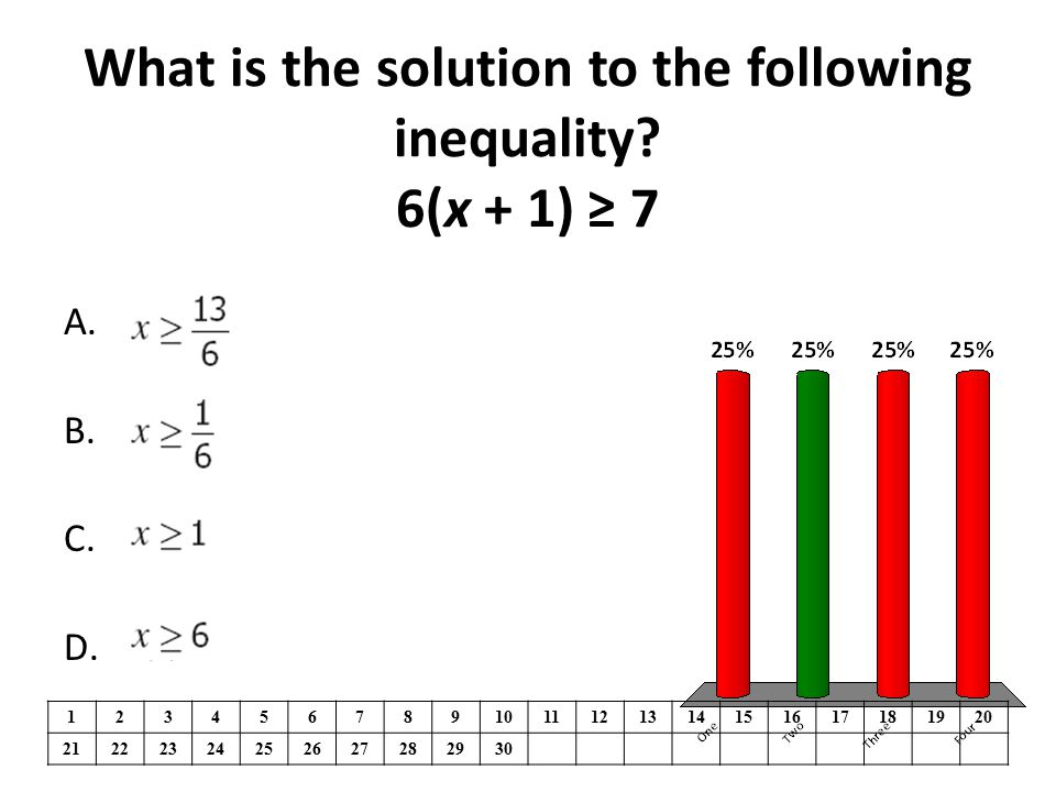 What is the solution to the following inequality 6(x + 1) ≥ 7