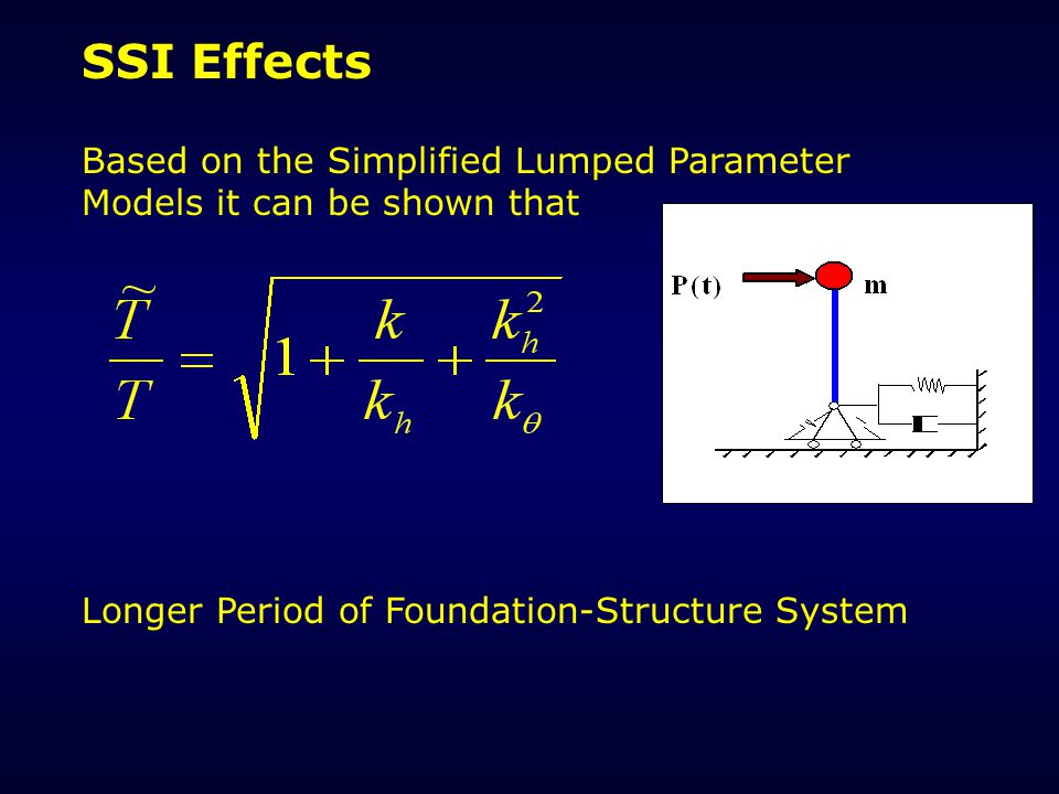 SSI Effects Based on the Simplified Lumped Parameter Models it can be shown that.