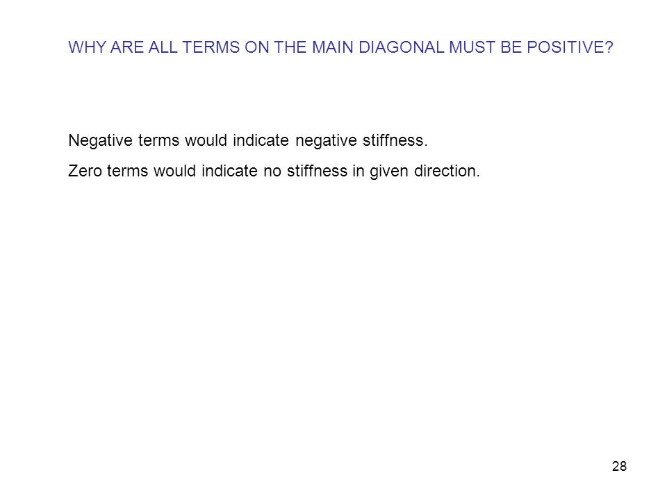 WHY ARE ALL TERMS ON THE MAIN DIAGONAL MUST BE POSITIVE