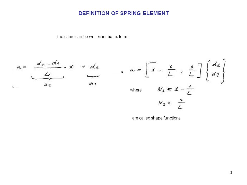 DEFINITION OF SPRING ELEMENT