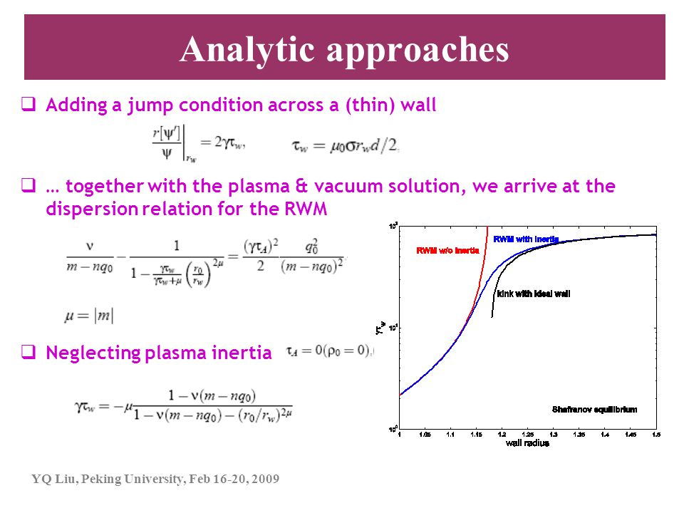Analytic approaches Adding a jump condition across a (thin) wall