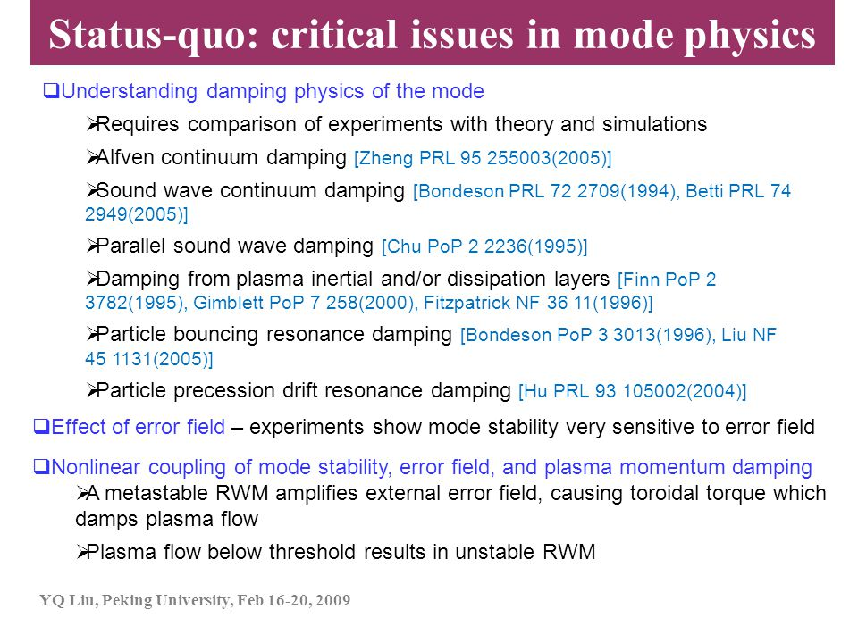 Status-quo: critical issues in mode physics