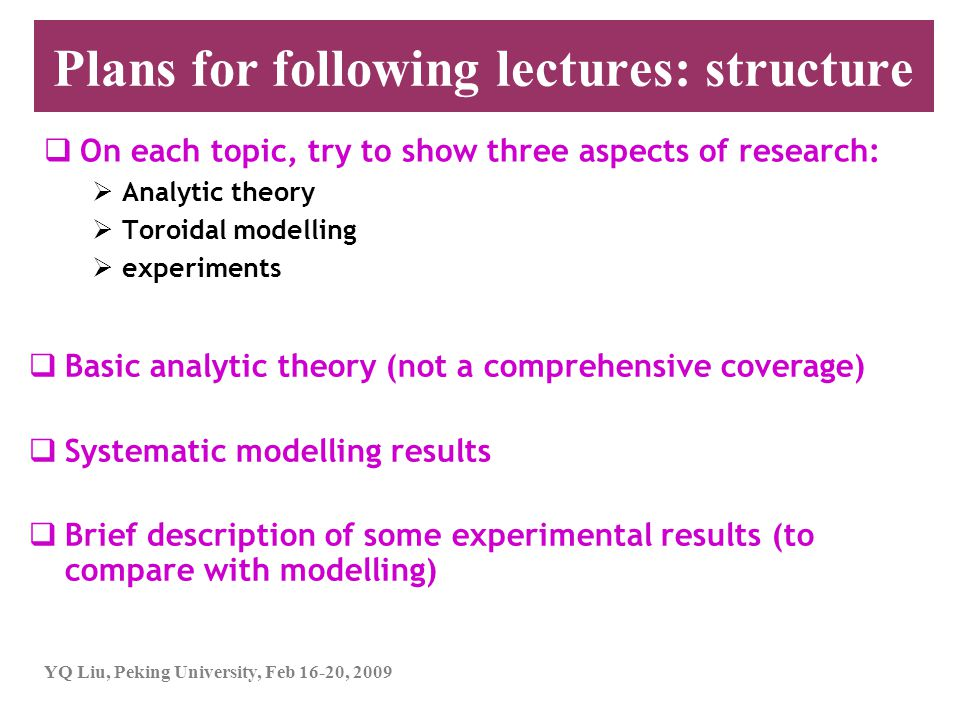 Plans for following lectures: structure