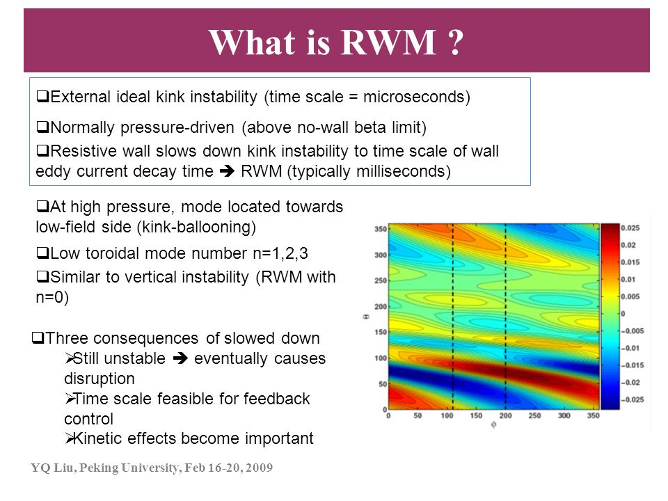 What is RWM External ideal kink instability (time scale = microseconds) Normally pressure-driven (above no-wall beta limit)
