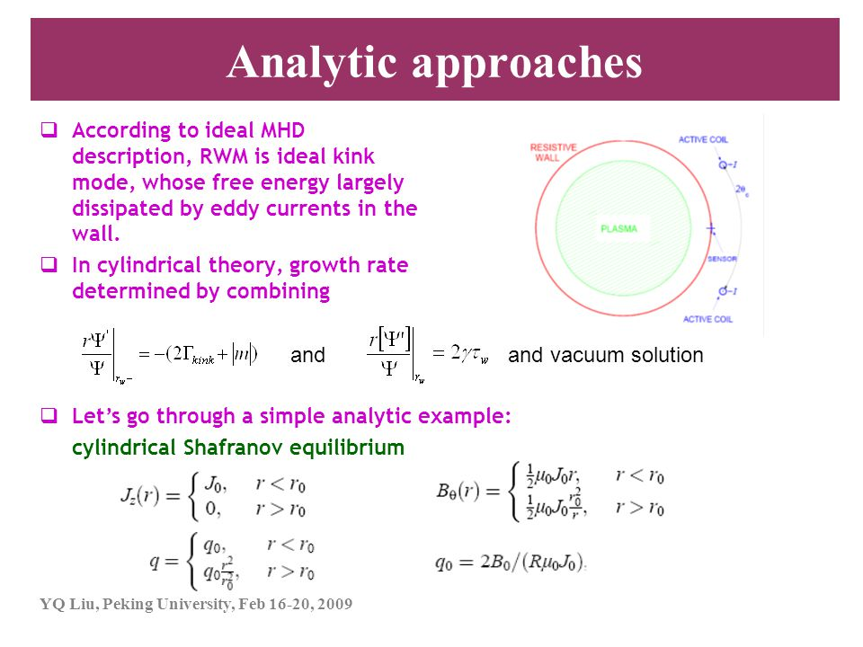 Analytic approaches According to ideal MHD description, RWM is ideal kink mode, whose free energy largely dissipated by eddy currents in the wall.