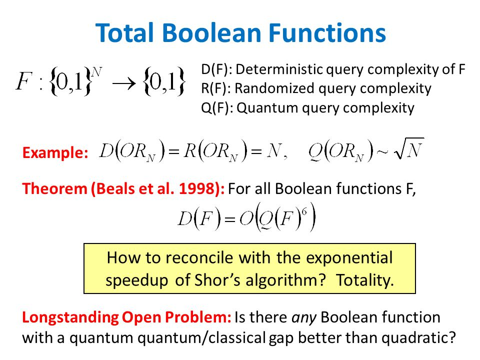 Total Boolean Functions