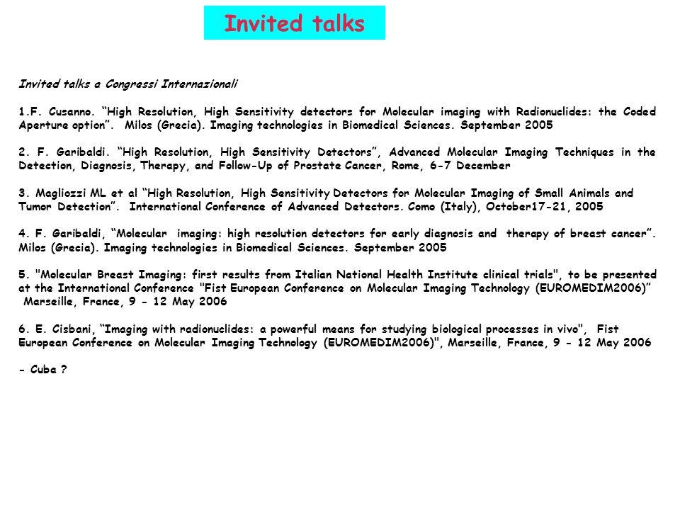 Invited talks Invited talks a Congressi Internazionali