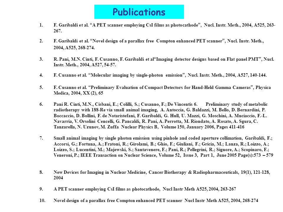 Publications 1. F. Garibaldi et al. A PET scanner employing CsI films as photocathode , Nucl. Instr. Meth., 2004, A525, 263-267.