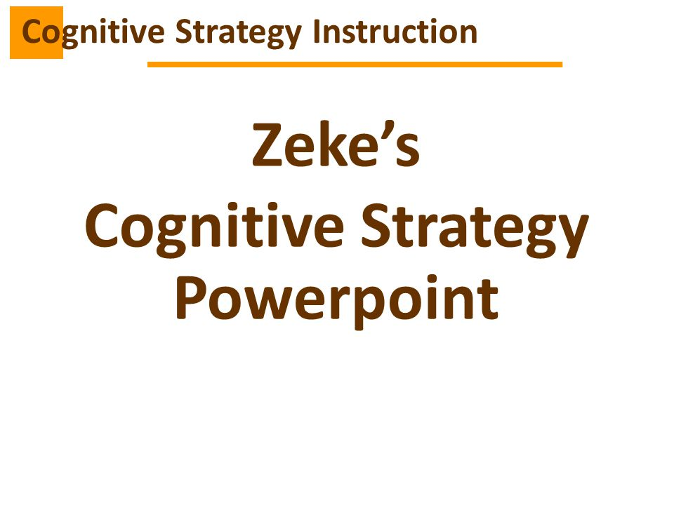 Cognitive Strategy Instruction