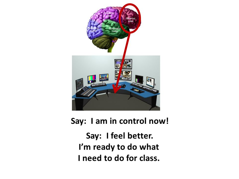 Say: I am in control now! Say: I feel better. I'm ready to do what I need to do for class.
