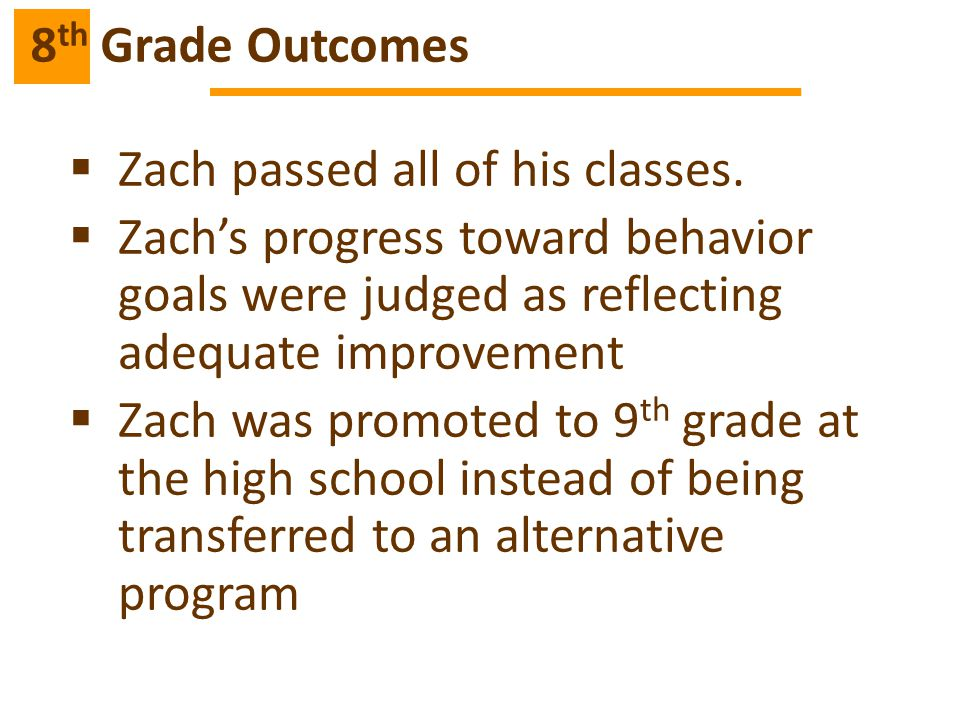 8th Grade Outcomes Zach passed all of his classes. Zach's progress toward behavior goals were judged as reflecting adequate improvement.