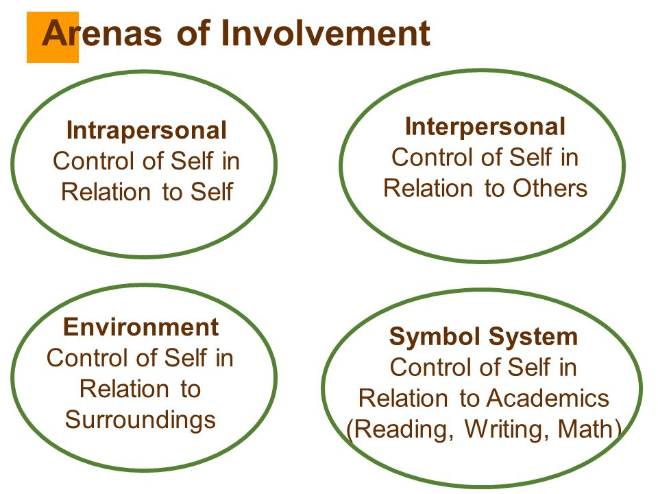 Arenas of Involvement Interpersonal Intrapersonal Control of Self in