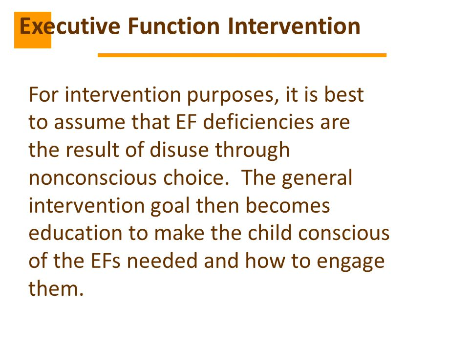 Executive Function Intervention