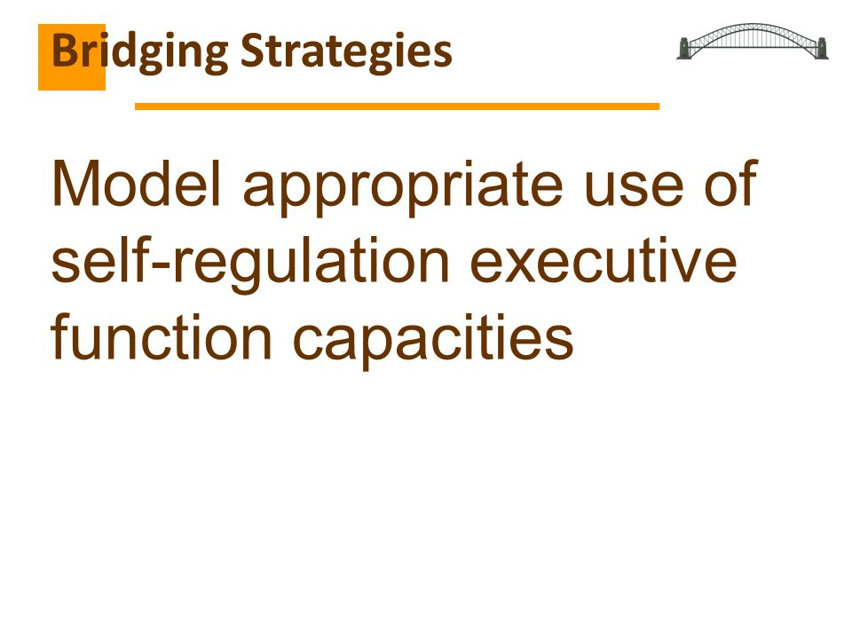 Model appropriate use of self-regulation executive function capacities