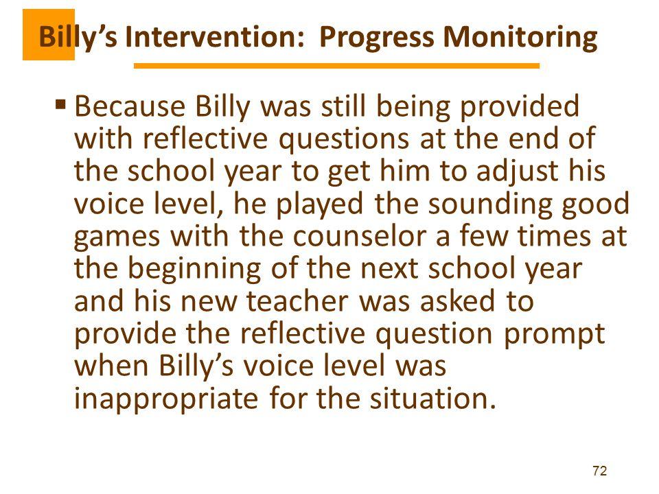 Billy's Intervention: Progress Monitoring