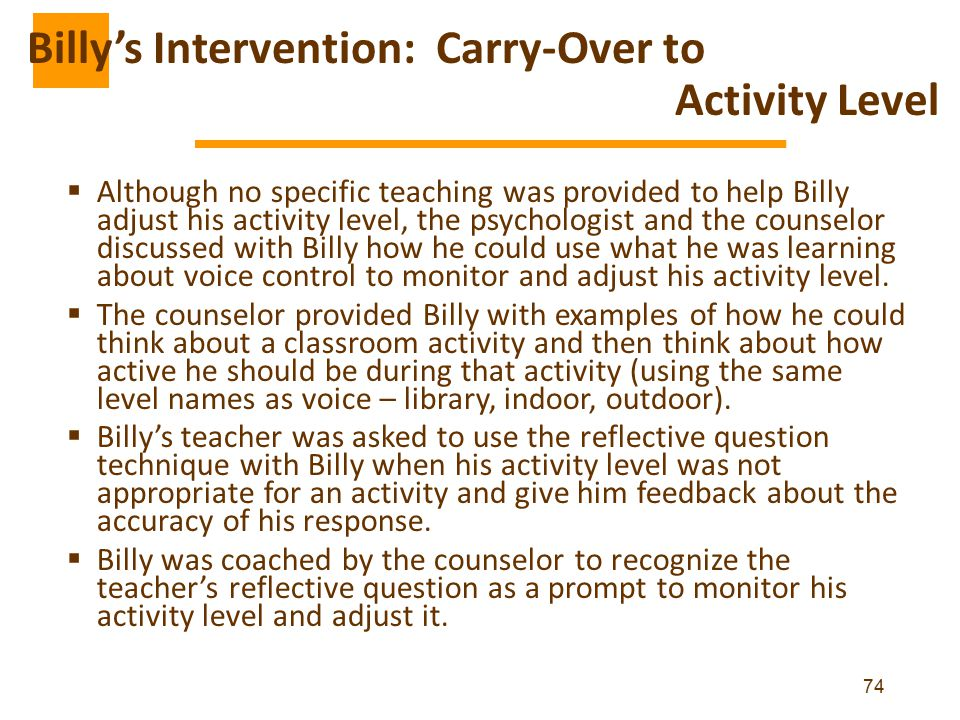 Billy's Intervention: Carry-Over to Activity Level