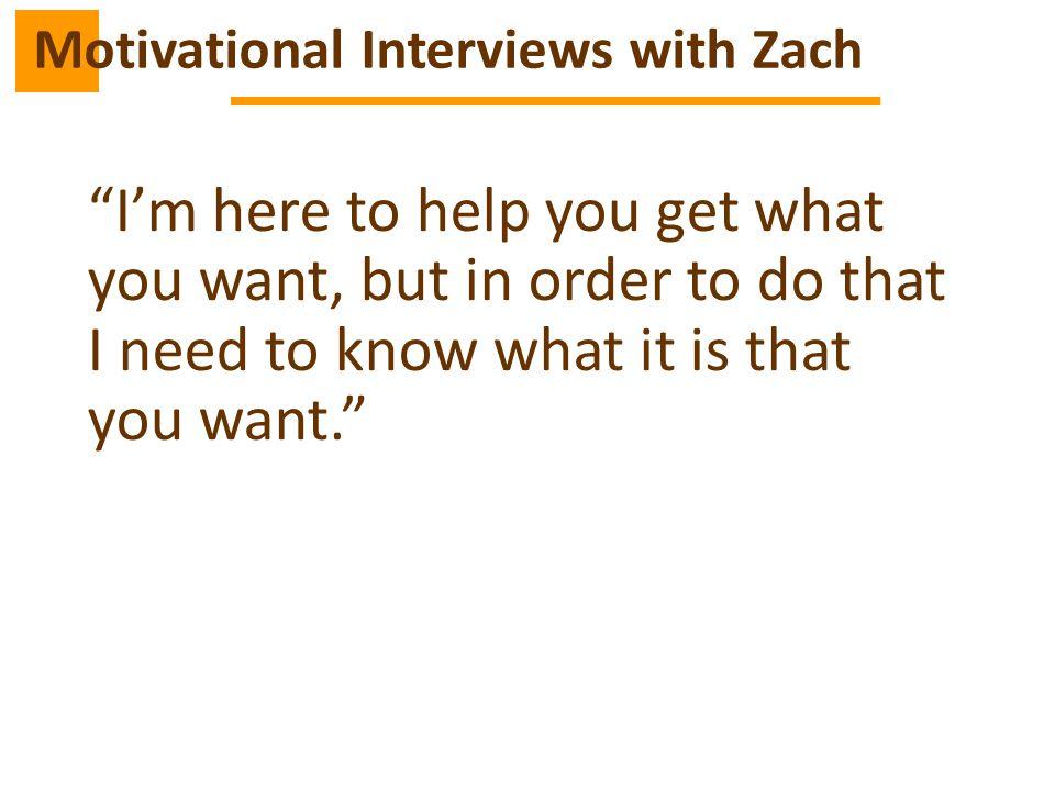 Motivational Interviews with Zach