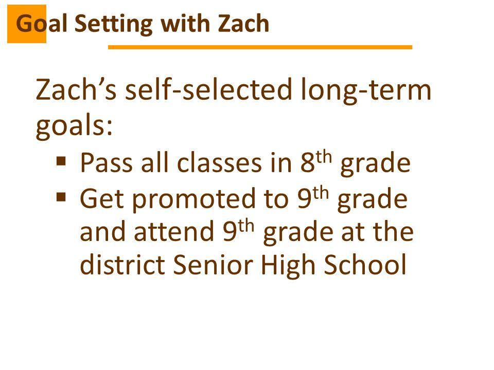 Zach's self-selected long-term goals: