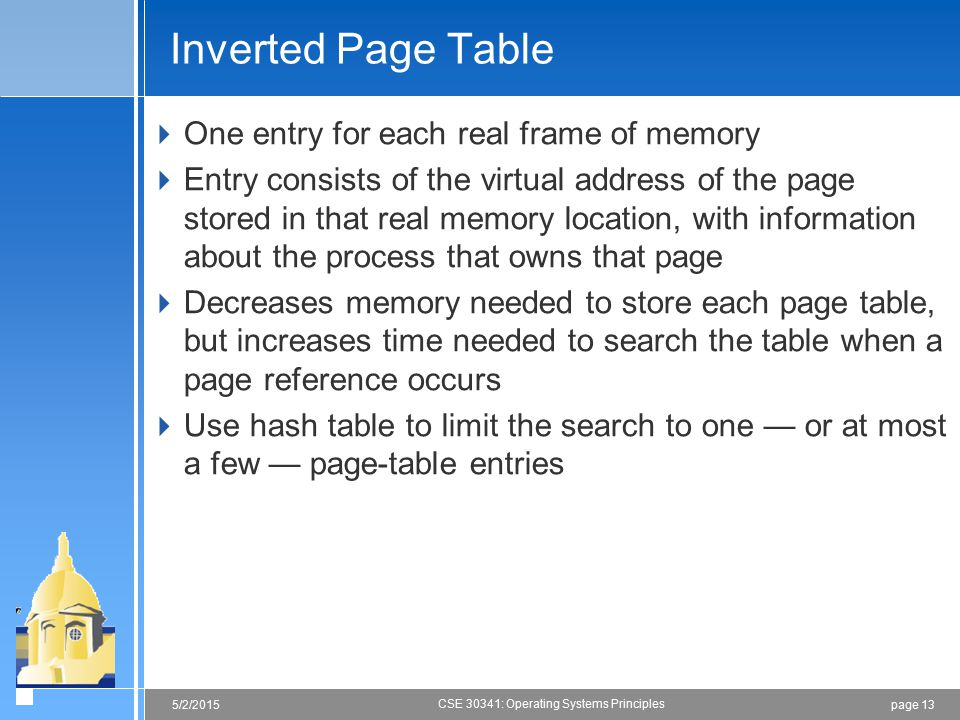 Inverted Page Table One entry for each real frame of memory