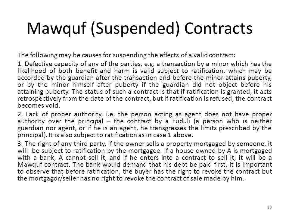 Mawquf (Suspended) Contracts