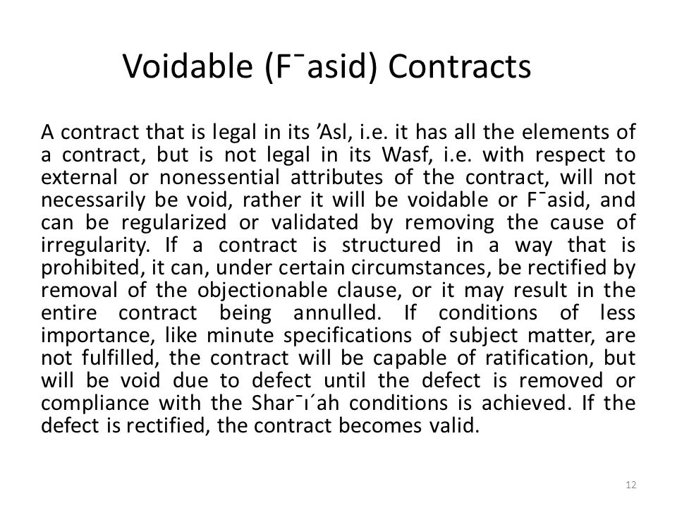 Voidable (F¯asid) Contracts