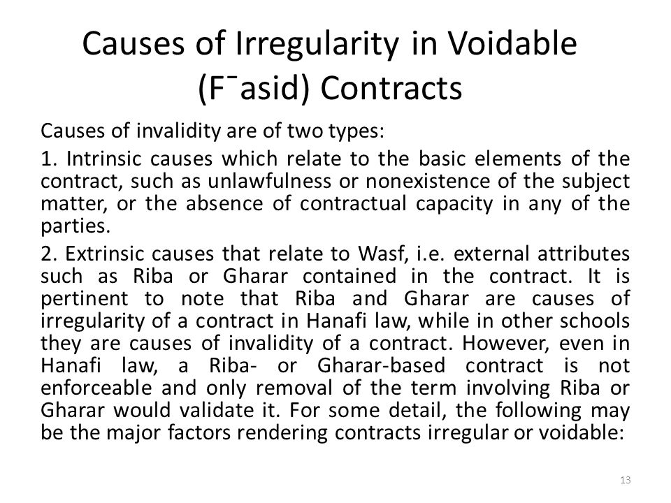 Causes of Irregularity in Voidable (F¯asid) Contracts