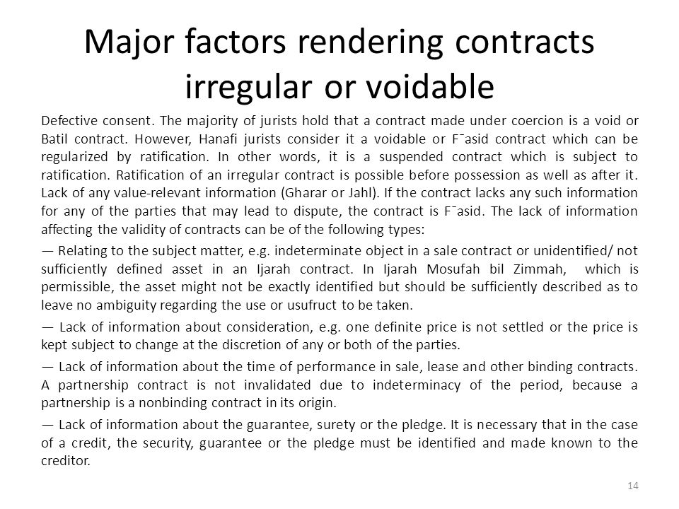 Major factors rendering contracts irregular or voidable