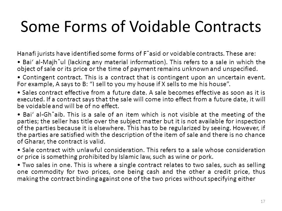 Some Forms of Voidable Contracts