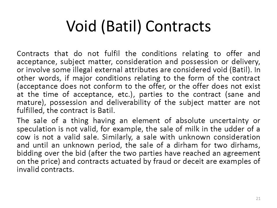 Void (Batil) Contracts