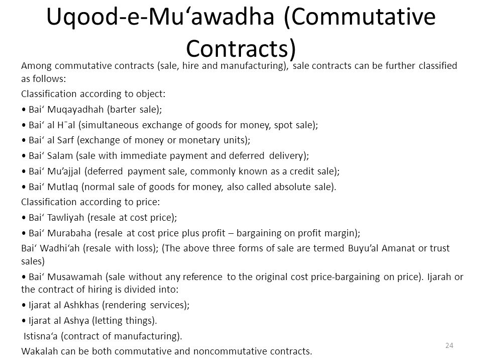 Uqood-e-Mu'awadha (Commutative Contracts)
