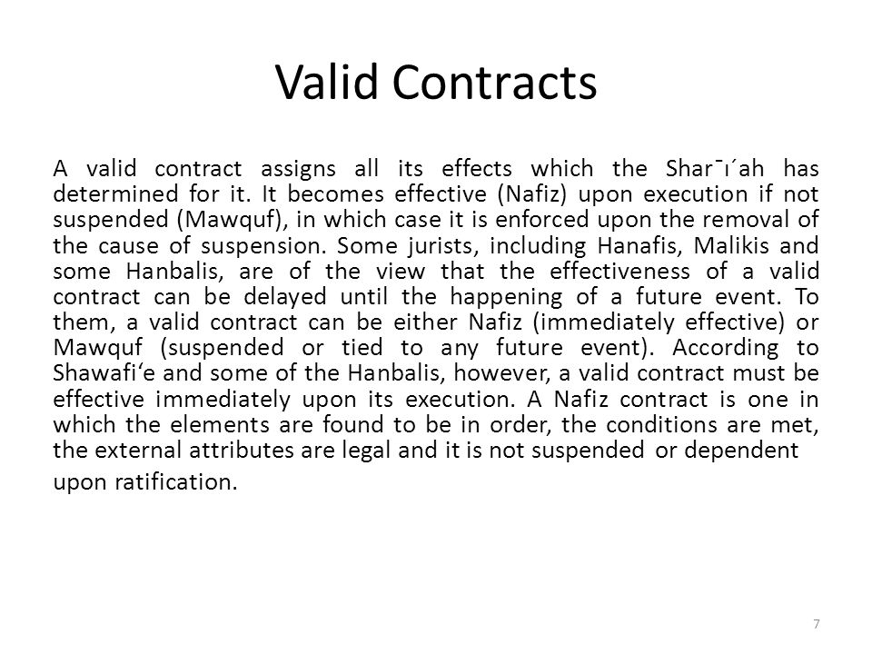 Valid Contracts