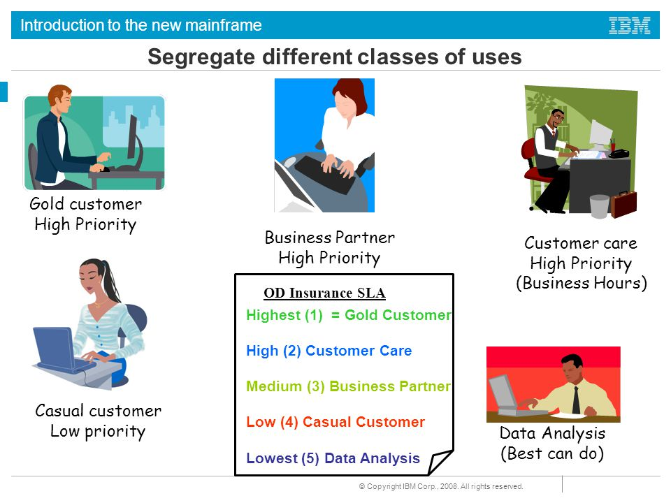 Segregate different classes of uses