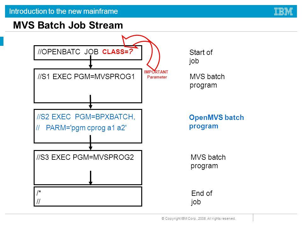 MVS Batch Job Stream //OPENBATC JOB Start of job