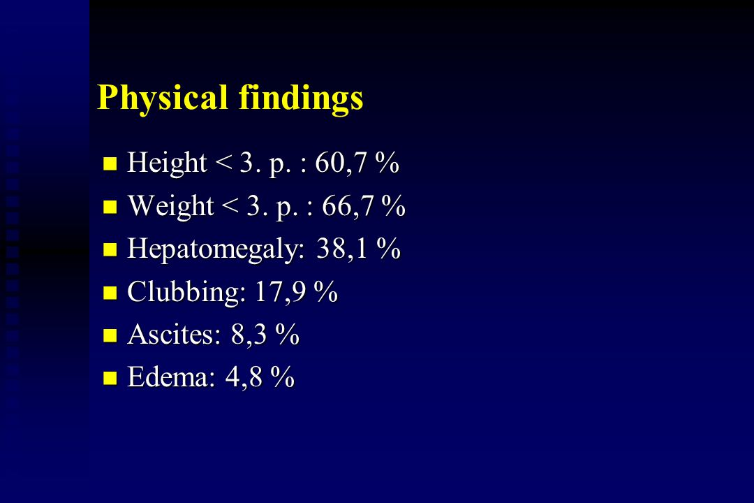 Physical findings Height < 3. p. : 60,7 %