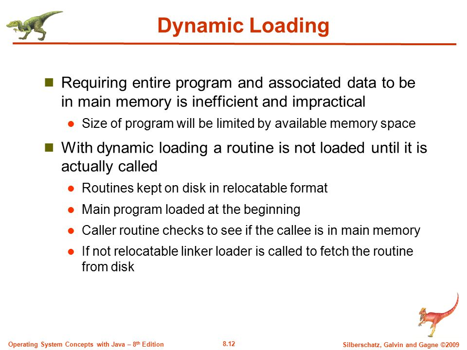 Dynamic Loading Requiring entire program and associated data to be in main memory is inefficient and impractical.