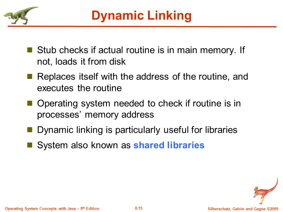 Dynamic Linking Stub checks if actual routine is in main memory. If not, loads it from disk.